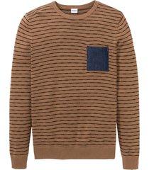 maglione con taschino in denim (marrone) - john baner jeanswear