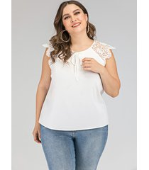 talla grande con corbata blanca diseño redonda cuello camiseta sin mangas