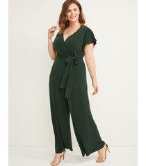 lane bryant women's faux-wrap flutter sleeve jumpsuit 14/16 forest green
