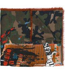 valentino garavani thin camouflage print scarf - green