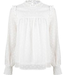witte blouse met stippen