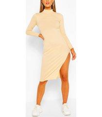 jumbo rib high neck split midi dress, ecru