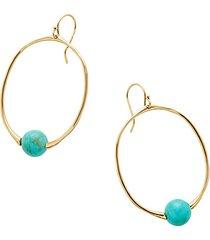 nova 18k yellow gold turquoise hoop earrings