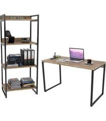conjunto escritório estilo industrial mesa 120cm e estante 60cm 4 prateleiras prisma carvalho - mpozenato