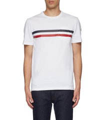 logo embossed tricolour stripe t-shirt