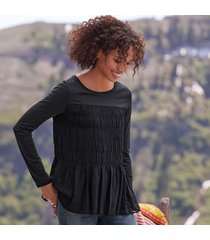 chiffon layer knit t-shirts