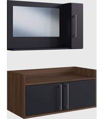 conjunto de balcão e espelheira p/ banheiro akira preto e madeirado escuro e estilare móveis