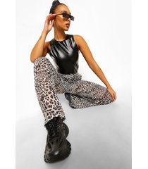 chiffon luipaardprint broek met hoge taille wide leg, white