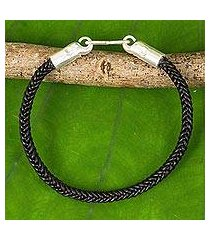 braided leather bracelet, 'elephant promise in black' (thailand)