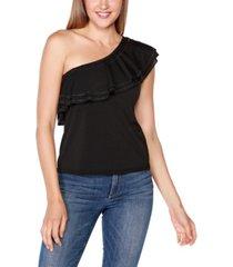 belldini black label petite embellished one-shoulder flounce top