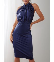 azul marino plisado diseño backless halter party vestido