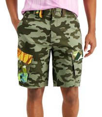 sun + stone men's regular-fit stretch camouflage patchwork cargo shorts, created for macy's