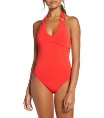 women's robin piccone kate one-piece swimsuit, size 4 - red