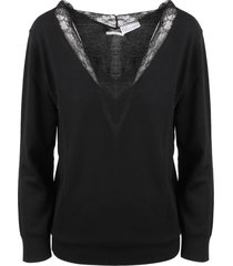 red valentino lace detail sweater
