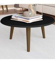 mesa de centro redonda brilhante 2074954 preto fosco - bechara móveis