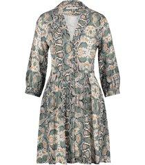 jurk met slangenprint terri  groen