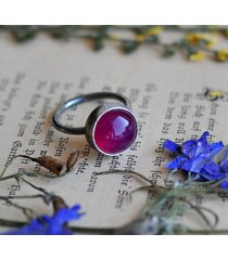 srebrny pierścionek - fuksjowy agat