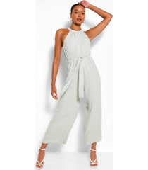 high neck belted jumpsuit, sage
