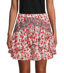 printed ruffled mini skirt