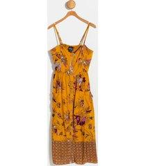 amelia floral button midi dress - mustard