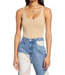 women's bp. double scoop stretch cotton bodysuit, size x-small - beige