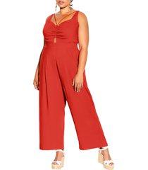 plus size women's city chic paradise cotton & linen jumpsuit, size large - orange