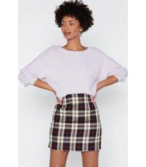 womens check on it plaid mini skirt - beige