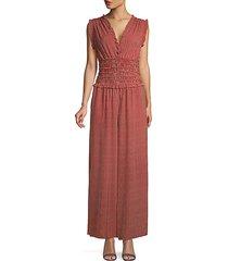 pinstripes shirred-waist jumpsuit