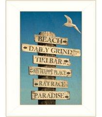 "trendy decor 4u beach directional by graffitee studios, ready to hang framed print, white frame, 14"" x 18"""