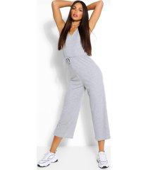tall zachte geribbelde culotte jumpsuit met ceintuur, grijs