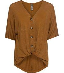 maglia con drappeggio e bottoni (marrone) - rainbow