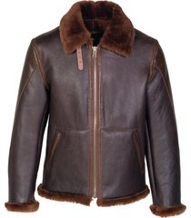 men's schott nyc genuine shearling b-3 bomber jacket, size medium - brown