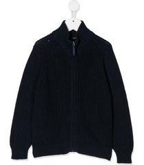 il gufo zip-up cardigan - blue