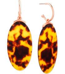steve madden rose gold-tone tortoise-look oval disc drop earrings