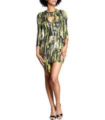 dress the population jayla asymmetric minidress, size medium in lemongrass mult at nordstrom