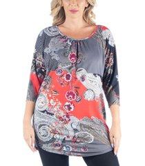 women's plus size three quarter sleeves long tunic top
