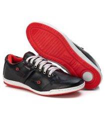 sapatenis couro tchwm shoes masculino confortavel macio preto