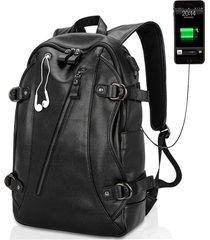 mochila con puerto usb y hueco de audifono e-hot para hombre - negro