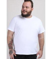 camiseta masculina plus size manga curta gola careca branca