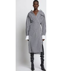 proenza schouler striped cotton wrapped shirt dress 10201 black/white 8
