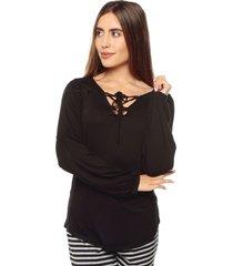 blusa pijama negra bronzini éxito