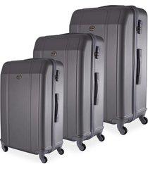 conjunto de mala de viagem em abs ika continental cadeado rodas giro 360º 3 peças p/m/g cinza