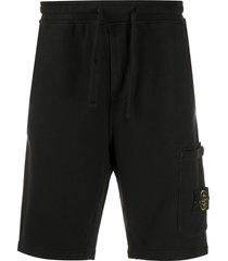 stone island logo patch track shorts - black