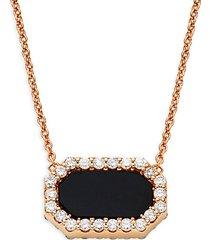 18k rose gold, black jade, ruby & diamonds pendant necklace