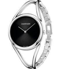 calvin klein women's lady stainless steel bangle bracelet watch 33mm
