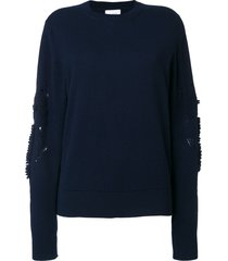 barrie romantic timeless cashmere round neck pullover - blue