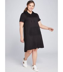 lane bryant women's livi mesh-inset hoodie dress 14/16 black