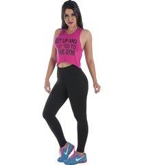 calça legging rb moda cós alto preta ref:9730