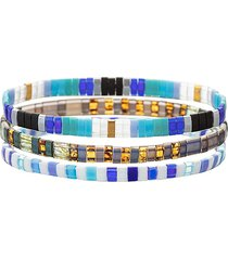 eye candy la women's luxe scarlett 3-piece goldtone & enamel stretch bracelet set
