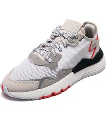 tenis lifestyle blanco-gris-coral adidas originals nite jogger